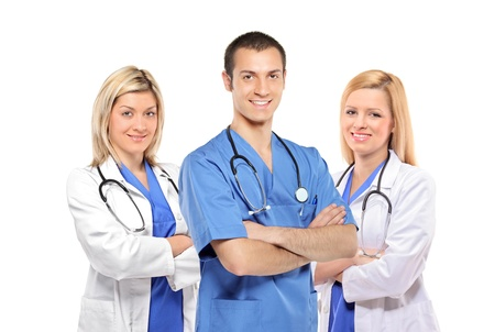 A smiling medical doctors with stethoscopes isolated on white background Stock Photo - 8379772