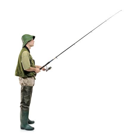hand crank: Un retrato de longitud completa de un pescador sosteniendo un palo de pescar aislado sobre fondo blanco