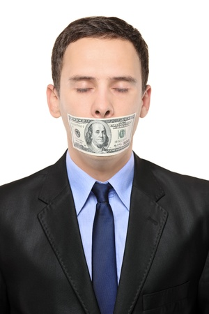 voiceless: A man with a 100 dollar banknote on his mouth isolated against white background Stock Photo