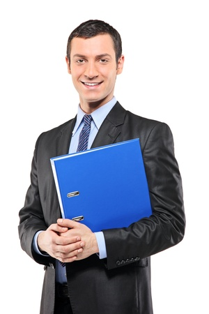 fascicule: A portrait of a happy businessman holding a fascicule with documents isolated on white background Stock Photo