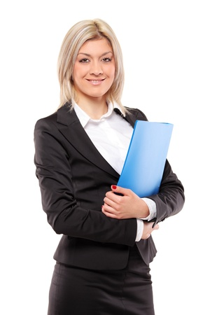 fascicule: A portrait of a smiling businesswoman holding a fascicule with documents isolated on white background