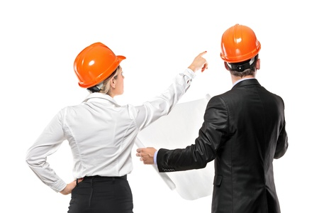 A team of male and female architect looking isolated on white background Stock Photo - 8460727