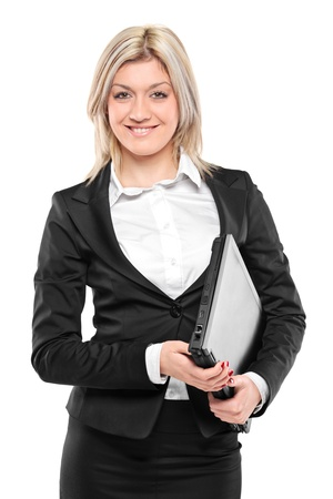 fascicule: A portrait of a smiling businesswoman holding a folder with documents isolated on white background Stock Photo