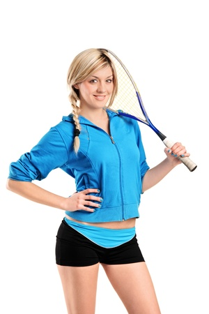 sportman: A view of a female squash player posing isolated against white background