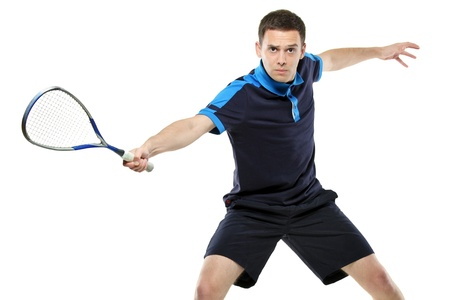 A male squash player playing isolated against white background photo