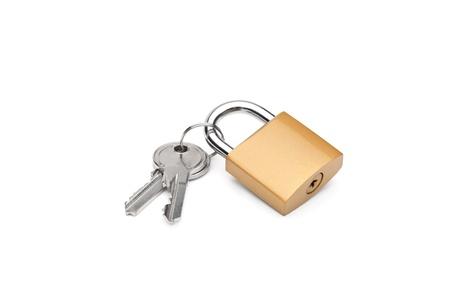 Closed padlock and keys isolated on white background photo