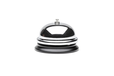 to chime: A view of a reception bell isolated on white background