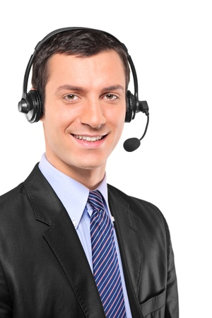 Portrait of a young customer service operator wearing a headset isolated on white background photo
