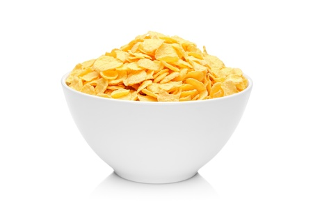 cornflakes: Cornflakes in porcelain bowl isolated on white background