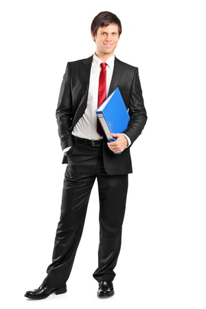 Full length portrait of a young businessman holding documents isolated on white background Stock Photo - 8926423