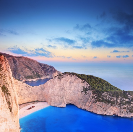 A panorama of Zakynthos island, Greece with a shipwreck on the sandy beach photo