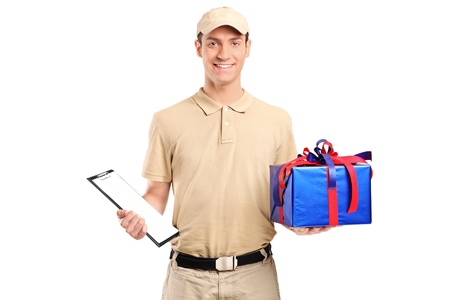 A delivery person delivering a big gift box isolated on white background photo