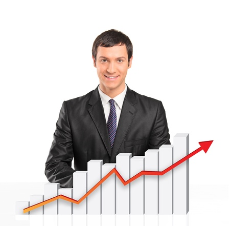 modern businessman: Smiling businessman behind a 3d rendered financial graph isolated on white background  Stock Photo