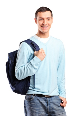 batoh: A portrait of a male student with a school bag isolated on white background