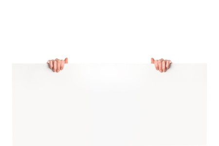 Male hands on white banner isolated on white background photo