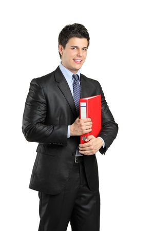fascicule: A smiling businessperson holding a red folder with documents isolated against white background