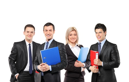 fascicule: A team of smiling businesspeople holding fascicules with documents isolated against white background
