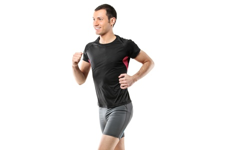 male athlete: Portrait of a male athlete running isolated on white background