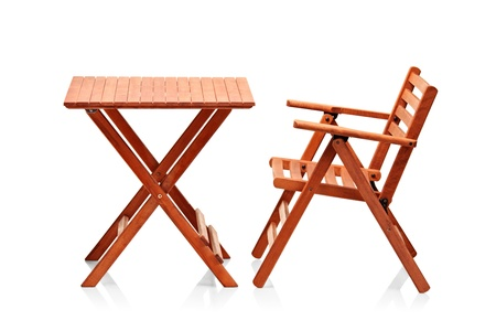 collapsible: Wooden folding beach furniture isolated against white background