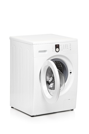 A view of a washing machine isolated on white background photo