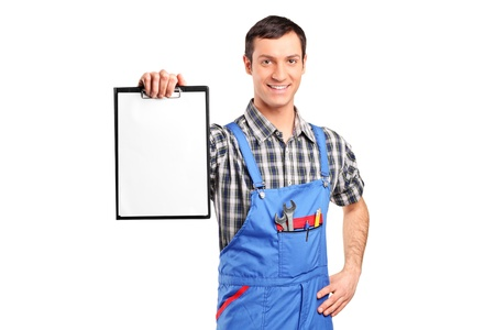 repairman: A repairman holding a blank clipboard isolated on white background