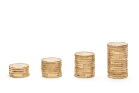 Columns of coins isolated against white background photo