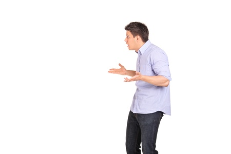 Innocent man gesturing do not know isolated on white background Stock Photo - 9405337
