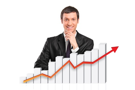 Smiling businessman behind a 3d rendered financial graph isolated against white background photo
