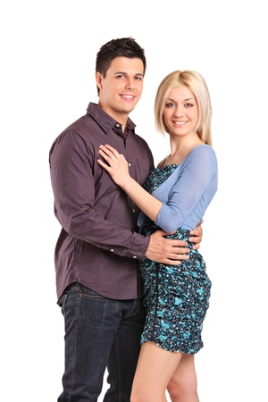 Young smiling couple in an embrace isolated on white background Stock Photo - 9559743