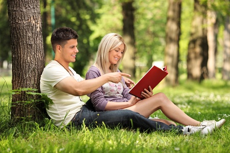 amour: A boyfriend and girlfriend reading a book in a city park Skopje, Macedonia