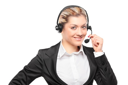 Portrait of a customer service operator wearing a headset isolated on white background Stock Photo - 9683290
