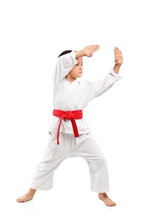 Karate boy exercising isolated against white background photo