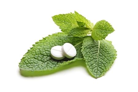 medicament: Blancas p�ldoras en un verde hojas de menta (Melissa officinalis) aisladas sobre fondo blanco