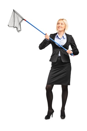 Full length portrait of a businesswoman with an empty fishing net isolated on white background photo
