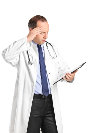 A medical doctor realizing a mistake isolated on white background Stock Photo - 9814759