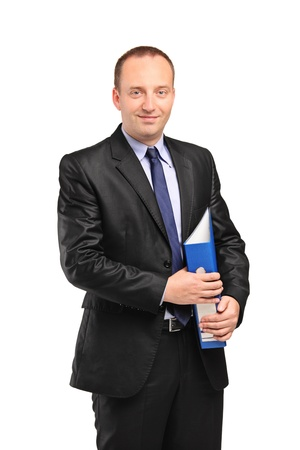 A smiling businessperson holding a folder with documents isolated against white background Stock Photo - 9814765