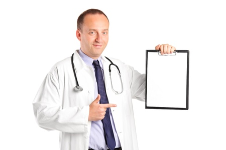 A medical doctor with stethoscope pointing on a clipboard isolated on white background Stock Photo - 9986545