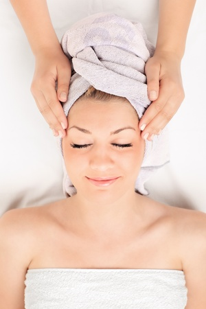 aroma therapy: A young woman getting spa treatment, shot from above