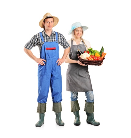 young farmer: Full length portrait of a male and female gardeners isolated on white background