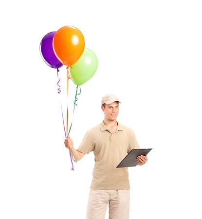 Full length portrait of a delivery boy delivering balloons isolated on white background Stock Photo - 9989892
