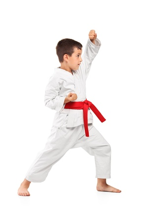 karate boy: Full length portrait of a karate kid posing isolated against white background