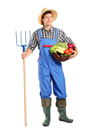 hayfork: Full length portrait of a male farmer holding a pitchfork and bucket with vegetables isolated on white background Stock Photo