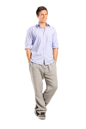 casual wear: Full length portrait of a smiling casual man looking at camera isolated on white background