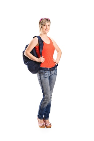 Full length portrait of a female student with school bag isolated on white background Stock Photo - 10280958