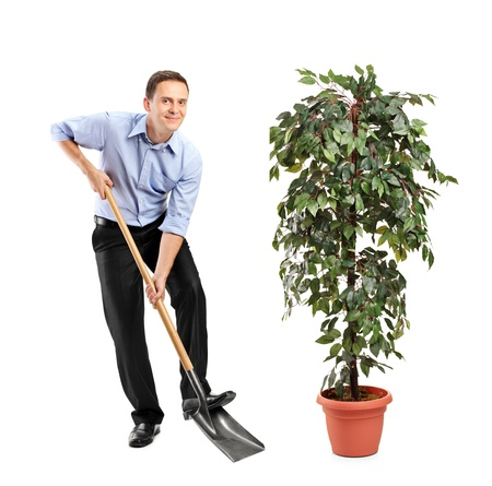 Full length portrait of a person holding a shovel and decoration plant isolated on white background