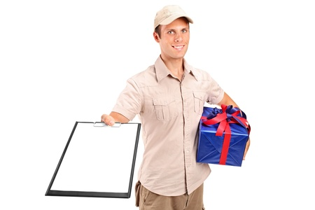 deliver: Delivery person delivering a gift and holding a clipboard isolated against white background