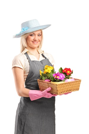 horticulturist: A young florist holding a basket with flowers isolated on white background