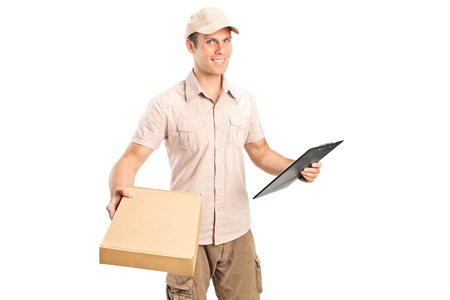 packets: Delivery boy delivering a packet and holding a clipboard isolated on white background