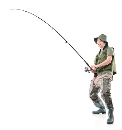 baits: Full length portrait of a fisherman holding a fishing pole isolated on white background