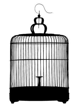 lockup: A silhouette of a birdcage isolated on white background Stock Photo
